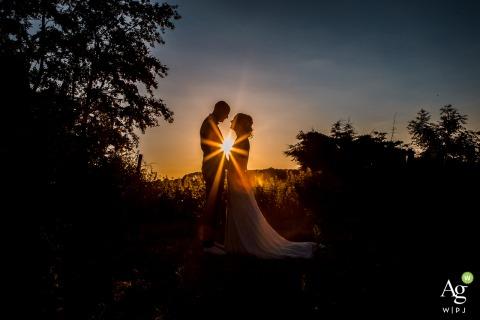 Robacher Watermolen Hauwert Wedding Photographer: Golden hour portrait of the bride and groom at sunset by Robacher watermolen
