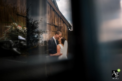 Bergen, North Holland Wedding Day Photo at the Barn | Portrait of the Bride and Groom In the parents back yard