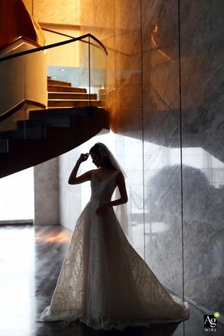 Portrait de la mariée à l'hôtel du Guangdong le jour du mariage