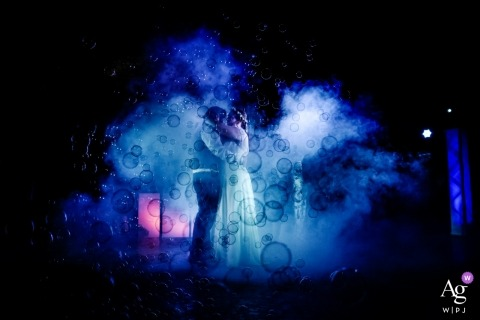 Valence, France Bubbles, Fog and Lights on the Reception Dance Floor