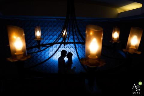 Xiamen Huwelijksfotografie | Hotelportret van de bruid en bruidegom | Warm en koud silhouet