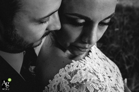 Castello di Montignano Romance Portrait of the Bride and Groom | Black and White Wedding Venue Photo