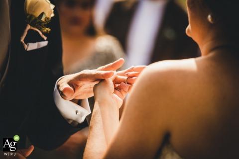 castello bevilacqua Verona Italy wedding ceremony detail photo of the ring exchange | wedding venue pictures