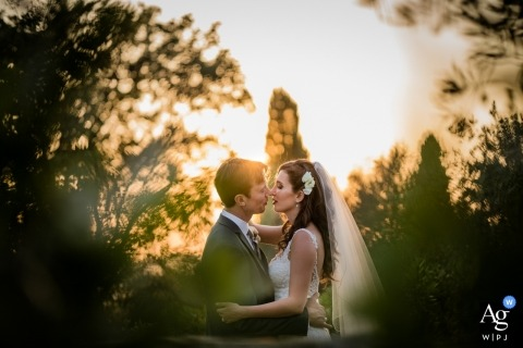 Private Villa near florence - Bride, Groom and sunset wedding photos