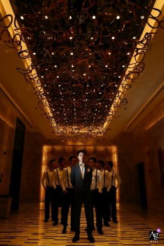 Photos d'hôtel en Chine - Portrait du marié le jour du mariage