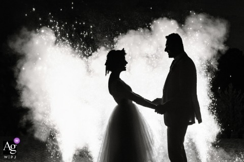 Poland black and white wedding portrait of the couple during the fireworks show