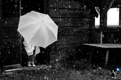Colorado wedding photographer captured an image of a Bride hesitating to walk outside. highlighting the snow storm in June!