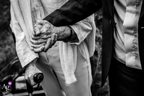 Domaine de Petiosse, France wedding photos showing hand in hand