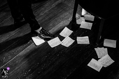 En marge restaurant, Aureville, France wedding venue. Details of the speech notes on the floor.