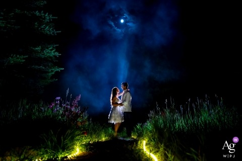 Pine Creek Cookhouse (Aspen, CO) wedding photos. Bride and groom nighttime portrait