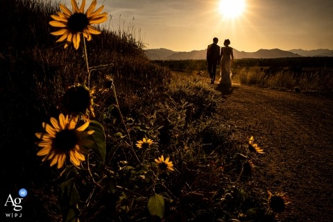Wedding photography at Aquarius Trailhead Lafayette, CO, Bride and groom golden hour portrait