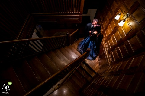 Tapestry House (Laporte, CO) Bride and groom staircase portrait | Wedding day photography at a Colorado Venue