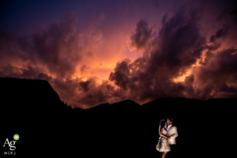 Pine Creek Cookhouse (Aspen, CO) Wedding Venue Photo | The Bride and groom sunset portrait | Off Camera Flash (OCF)