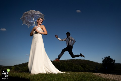 San Galgano Abbey, Agriturismo - San Galgano, Siena	 wedding day photography | Groom Jumping!