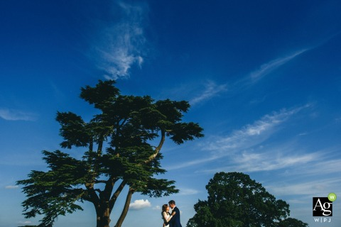 Braxted Park portrait of the bride and groom on wedding day | Couple nicely positioned with the trees in this blue and green photo