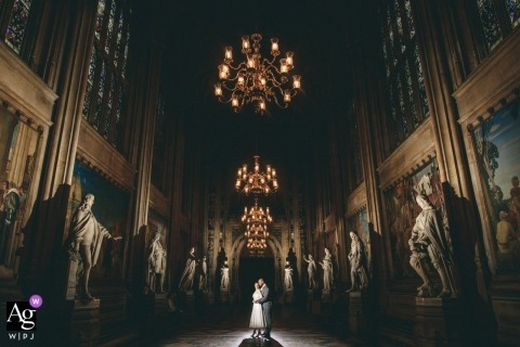 Wedding day image of the bride in groom in the Houses of Parliament in London