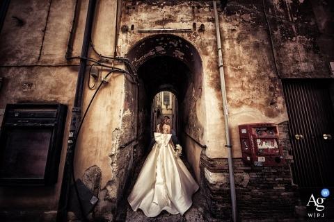 Terracina Bride portrait on wedding day in Sepia