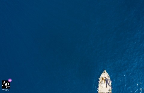 Portofino wedding drone photos of the bride and groom on a boat