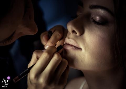 Portofino bride details of her make-up before the wedding ceremony