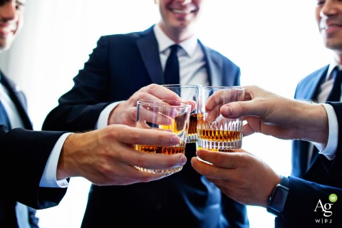 Stone House at Stirling Ridge, Warren New Jersey wedding venue detail photo of the groomsmen toasting