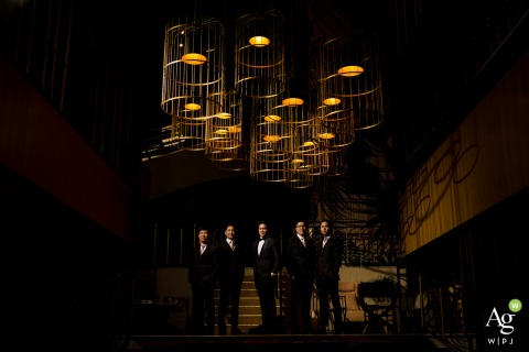 W Hotel Midtown Atlanta Wedding Venue Photo | Lit Portrait of Groom with Groomsmen