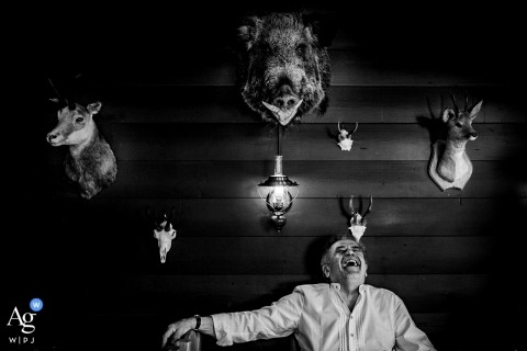 Schliersee wedding photography | The reception walls with taxidermy animal heads