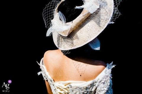 Zhejiang China wedding detail photography - hat, dress and shadows