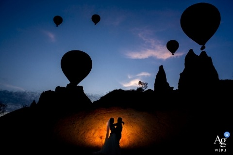 cappadocia, kaya hotel wedding venue photography - portrait of couple shooting at cappadocia