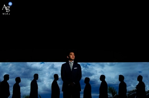 Andaz Resort, Wailea, Maui, Hawaii wedding images: Groomsmen shoot with light before the ceremony