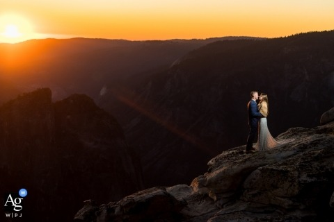 Taft Point wedding portraits | Couple standing on taft point at sunset.