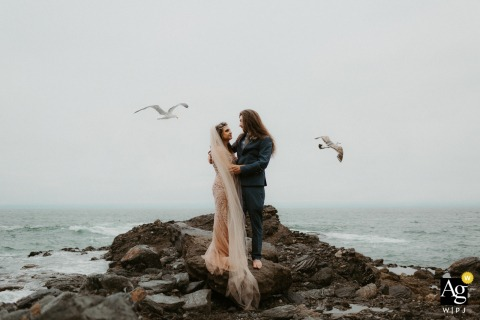 Table Rock Beach, Laguna Beach, CA wedding pictures | Beach elopement and some very good timing