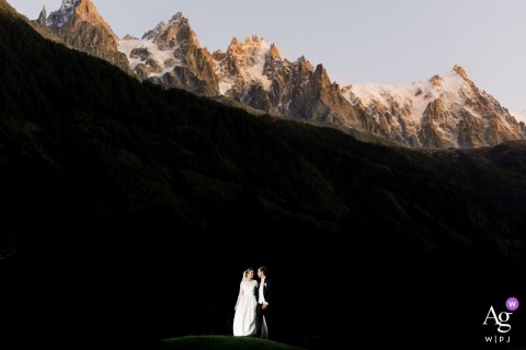 A couple in front of the mountain in Chamonix - wedding day photography