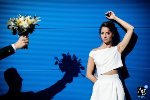 Wedding Ceremony - France | Wedding Bouquet portrait with the bride and shadows