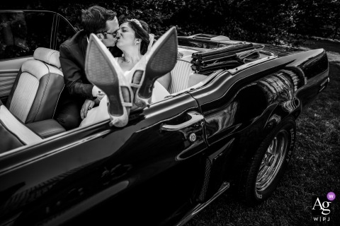 Wedding Reception venue in France - Bride and groom portrait in the wedding car