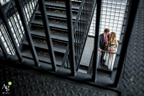 Czech Republic wedding photographer | Ostrava Staircase Portrait of the Bride and Groom from a High Angle