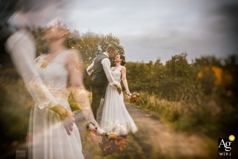 North Rhine-Westphalia artistic wedding portrait - bride and groom in layers