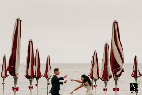 Amalfi coast wedding photo of the bride and groom dancing on the beach after the ceremony
