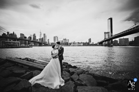 Dumbo, Brooklyn, New York Bride & Groom portrait at the jetty under the bridge.