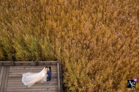 Beijing arial drone portrait of bride and groom - China wedding photographer.