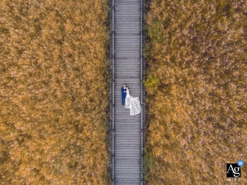 China arial drone portrait of Beijing bride and groom