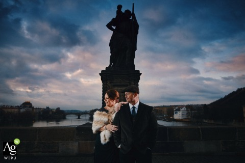 Charles Bridge, Prague. Wedding venue Old Town Hall. - The couple during their wedding day portrait session in Prague atop the Charles Bridge.