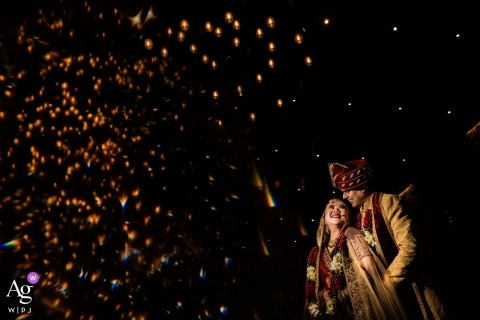 Jaipur, India Wedding Photo - The couple were captured under light of ceiling.