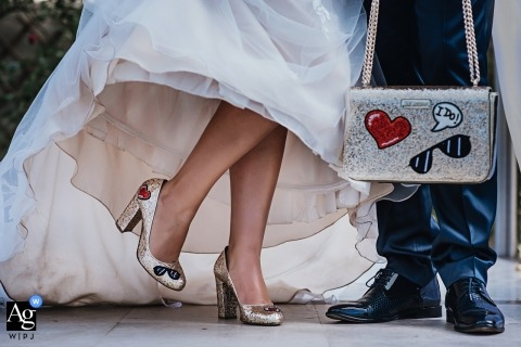 Bulgaria Marriage detail photo - I do - shoes and purse of the bride