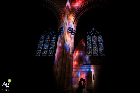 Princeton University Chapel wedding photo of the bride and groom silhouette