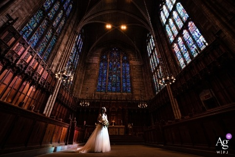 Princeton University Chapel bride in sunlight during wedding day portrait