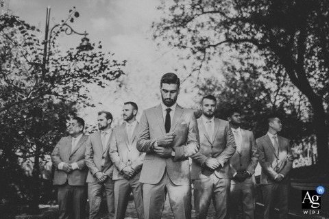 Photo at a park near ceremony location in kuzguncuk, istanbul - A black and white portait of groom and groomsmen