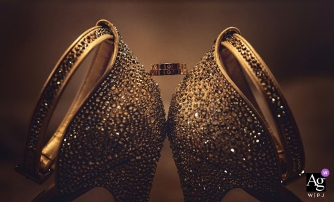 Genova Ring details with the bride's shoes | Fine Art Wedding Photography