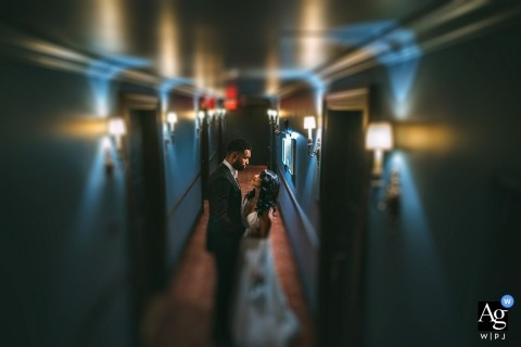 Nomad Hotel, new york bride and groom portrait in the hallway