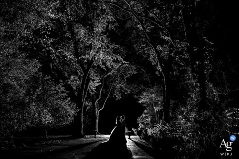 Ironworks (Denver, CO) Bride and groom silhouette portrait in the lit trees at night