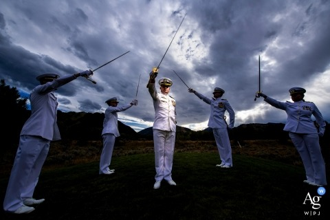 Aspen Meadows Resort (Aspen, CO) Wedding Photos | Military wedding groomsmen portrait